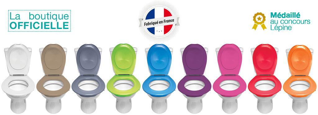 déclinaison de couleurs de la lunette de toilette clipsable papado - invention et fabrication française - médaillé concour lépine